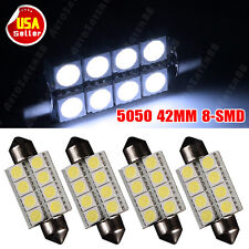 4x Cool White 7000K 42MM Festoon 8SMD LED License Plate Dome Map Light bulbs 578