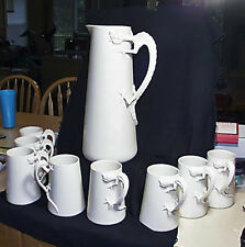 Scarce Fine 9 Pc Willets American Belleek Porcelain Dragon Handled Pitcher Mugs
