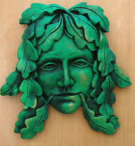 goddess greenman green man wall plaque pagan wicca indoor version
