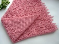 Lace Hand Knitted Shawl. Wool Wedding Bridal Soft Pink Summer Wrap