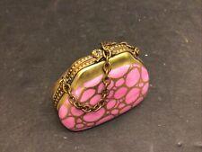 Limoges France Peint Main Chamart Exclusive Pink Purse Trinket Box