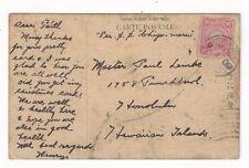 1909 Yokohama Japan to Honolulu Hawaii, Ship S.S. Chiyo Maru, Handpainted PPC
