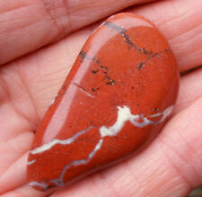 XL RED & WHITE JASPER POLISHED CRYSTAL STONE TUMBLESTONE 35mm - 40mm BAG ID CARD