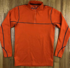 Under Armour Men's Reactor Cold Gear Fitted Orange Gray 1/4 Zip Pullover Ribbed