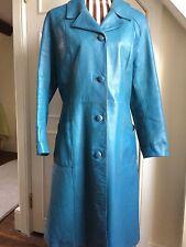 Vintage Blue Leather Coat. UK12/14. Calf length.