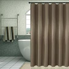 "Extra Long 84"" Taupe Striped Farmhouse Water-Repellent Fabric Shower Curtain"