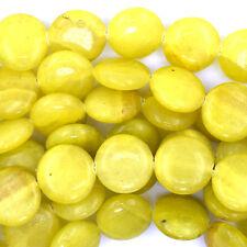 """16mm lemon jade coin beads 15"""" strand"""