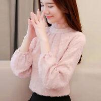 Elegant Korean Women Long Sleeve Slim Casual Loose Lace Chiffon Shirt Blouse Top