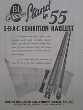 9/1947 PUB BRITISH INSULATED CALLENDER'S CABLES AIRCRAFT RADIO FREQUENCY SBAC AD