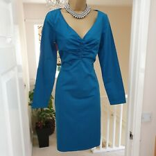 Ladies TED BAKER *Marei* Teal Cotton Plunge Stretch Pencil Dress Size 10 (2)
