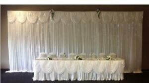 HIRE ONLY - WEDDING BACKDROP&CAKE TABLE CURTAIN,SWAG, LED LIGHT (3 X 6 M)