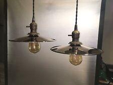 2 reclaimed pendants light fixtures antique perkins sockets polished nickel shad