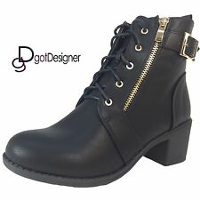 NEW Womens Shoes Combat Boots Ankle Booties Mid Calf Mid-Heel Motorcycle Riding