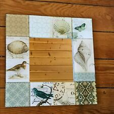 Estate Small Square Mirror Framed in Glass Bird Butterfly Seashell Tiles – 10 x