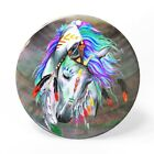 Printed Horse Black Lip Shell Jewelry Necklace Pendant ZP1901 0012