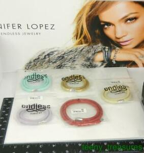 "Lot of 5 Jennifer Lopez ENDLESS Multi Color Leather Wrap Charm Bracelets - 6.5"""