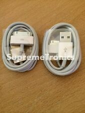 2 X Genuino Apple USB Cables Iphone 3gs 4 4s Cargador Sync Datos Plomo Ipad Ipod