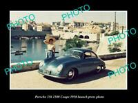 OLD POSTCARD SIZE PHOTO OF 1950 PORSCHE 356 1300 COUPE LAUNCH PRESS PHOTO
