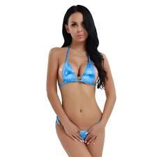 Sexy Women Metallic Three-point bikini Set Adjustable Tie Side Swimsuit Swimwear