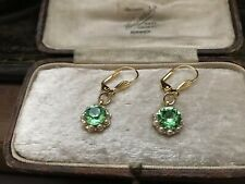 Vintage Peridot Green Crystal ,Seed Pearl Drop Hook Pierced Earrings Gold Plated