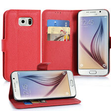 Samsung Galaxy S6 Cover rot Stand Wallet Book Hülle Kunstleder Display Taasche