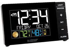 La Crosse Alarm Clock Color Digital LCD Temperature-Humidity-Moon Phase-USB Port