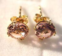 Stud Earrings Gold: 9K Yellow gold Simulated Morganite earrings, Christmas gift