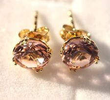 Stud Earrings Gold: 9K Yellow gold Simulated Morganite earrings, Christmas gift