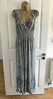 Mia Suri Maxi Dress Size UK 14 Grey Blue Multi Summer Womens Lagenlook