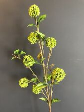 Green Artificial Snowball Hydrangea Spray, Realistic Faux Silk Greenery
