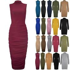 Womens Polo Turtle High Neck Midi Dress Ladies Ruched Sleeveless Soft Bodycon
