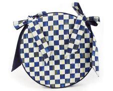 Mackenzie Childs ROYAL CHECK Blue & White ROUND CHAIR CUSHION NEW $98 m19-2