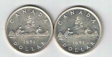 2 X CANADA SILVER DOLLARS KING GEORGE VI .800 SILVER COINS 1951 FWL 1951 SWL