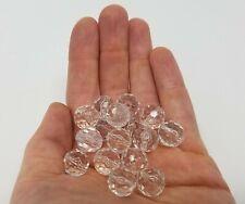 Lote De 50 Pequeño Transparente 12mm Redondo Cristal Facetado Acrílico Plástico