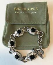 "JUDITH RIPKA Sterling Silver Faceted BLACK ONYX & Cubic Zirconia 8"" Bracelet 55g"