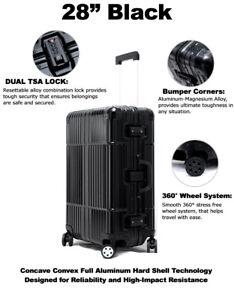 "All Aluminum Luggage Luxury TSA Approved Hard Case 28"" Durable 360 Degree Wheels"