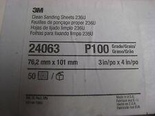 "50  3M 236U Hookit 3"" x 4"" Abrasive Sanding PAPER SHEETS P100 Grit  # 24063"
