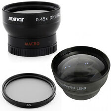 37mm Wide Angle Lens, Macro, Telephoto Lens, CPL for Sony HDR CX160 CX130 XR160