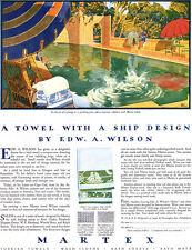 Artist Edw. A. Wilson Martex Towel Salem Ship Design BACKYARD POOL 1927 Print Ad