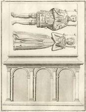 Tombeau de Louis de Rouville - Millin Gravure originale XVIIIe