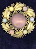 ANTIQUE FILIGREE BROOCH YELLOW METAL COLOURFUL GLASS STONES CZECH PIN LOVELY