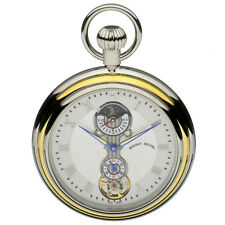 Mount Royal Chrome Plated 2 Tone Open Face Pocket Watch, 17 Jewel ref B35