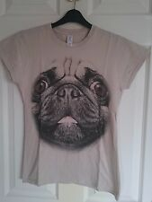 Big Face Beige Pug T-Shirt, Women's Size S (approx. size 8 /10)