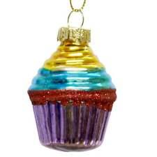 Gisela Graham - Purple & Yellow Cup Cake Bauble - Christmas Decoration - 00013 D