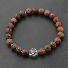 Charm Men's Silver Lion Wooden Beads Elastic Cuff Bracelets Jewelry Best Gift