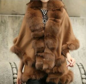 Real Wool Cashmere Cape Coat Fox Fur Trim all around Poncho Double Layer Camel