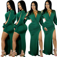 Women Sexy Deep V Neck Long Sleeve High Slit Solid Cocktail Casual Party Dress