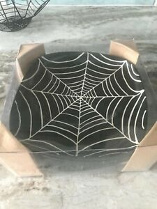 NEW Set of 4  Pottery Barn Spider Web Black Dessert/Appetizer Plates Halloween