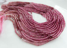 "13"" strand shaded AAA PINK TOURMALINE faceted gem stone rondelle beads 2.5mm"