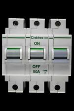 CRABTREE 50 AMP TYPE 2 M9 TRIPLE POLE MCB CIRCUIT BREAKER POLESTAR 632/50